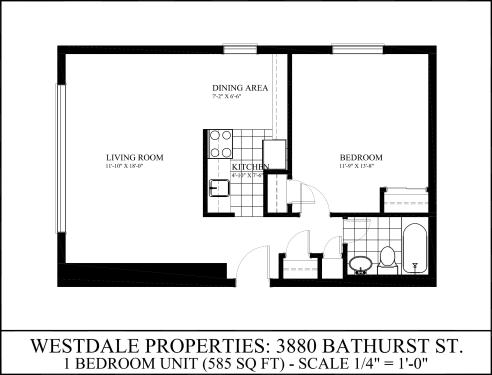 1 bedroom apartments for rent at 3880 bathurst st for Apartment floor plans toronto
